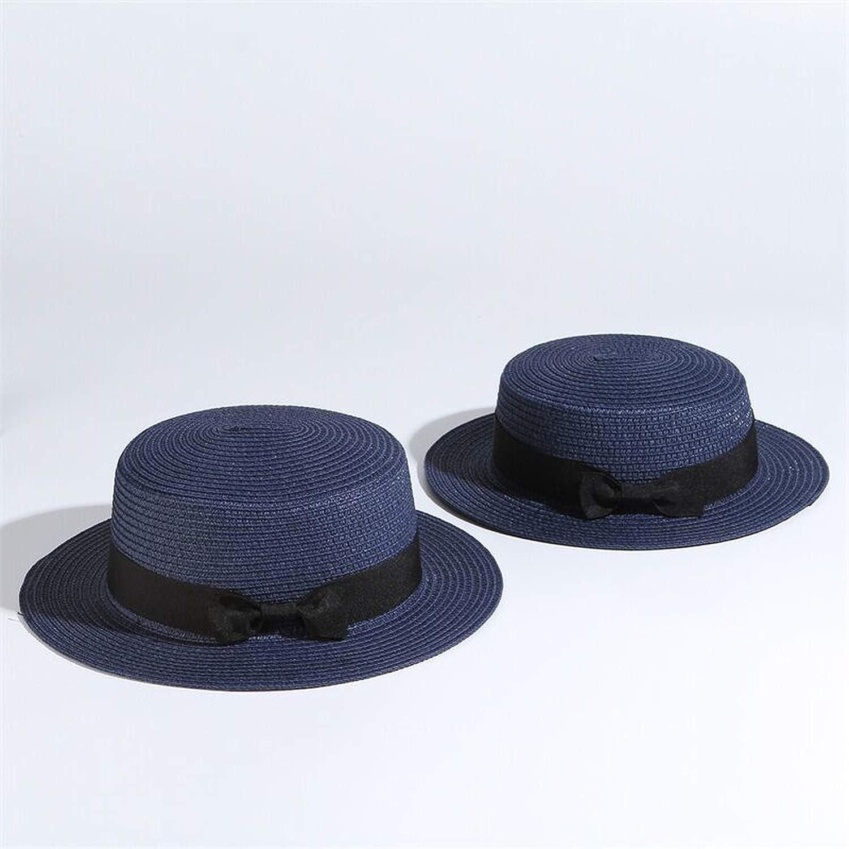 Parent-Child Sun Hat Bow Hand Made Straw Cap Beach Flat Brim Hat