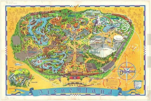 photo regarding Printable Magic Kingdom Map called : Historical Map Disneyland 1968 Walt Disneys