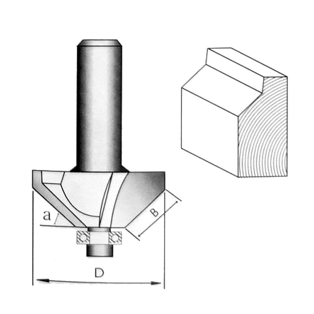 uxcell 1//4-inch Shank 1//2-inch Cut Long Ball Bearing 45 Degree Chamfer Router Bit