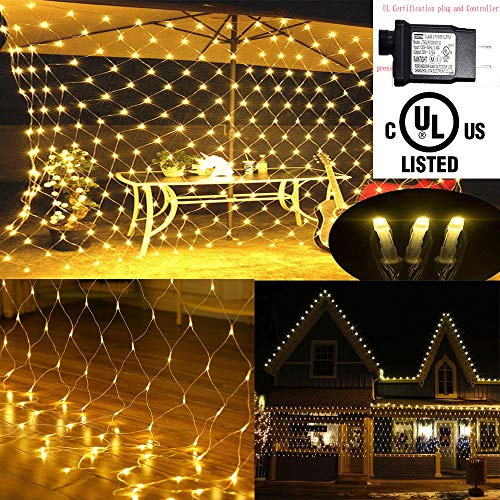 LED Net lights, 200 LED Fairy String Decorative Mesh Warm White For a Wedding Cocktail Party Birthday BBQ Bistro Cafe By Cheng Yu 2017]()