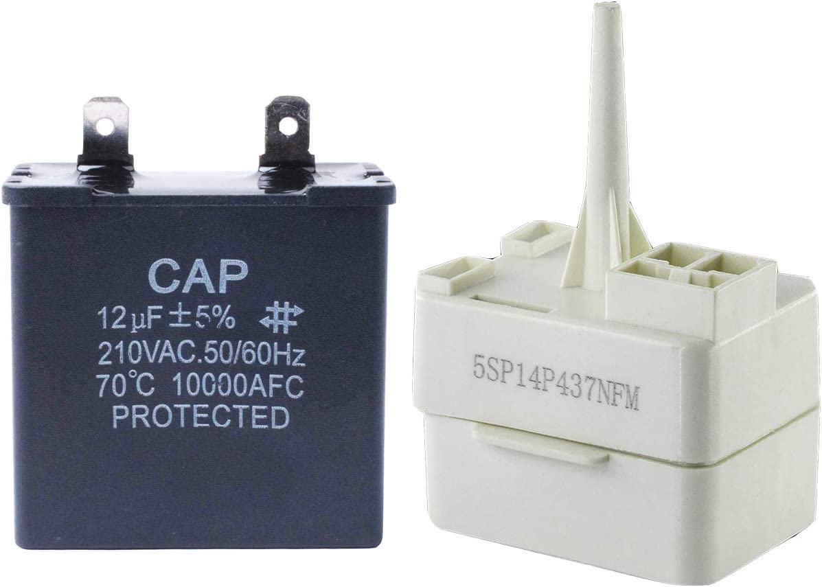 W10662129 12uf Refrigerator Run Capacitor Motor with 2188830 Refrigerator Relay Compressor Overload for Whirlpool Kenmore 2169373 W10662129 R0660030 WPW10662129 LP16358 AP6023677 AP3885081