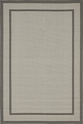 Unique Loom Outdoor Border Collection Casual Solid Transitional Indoor and Outdoor Flatweave Gray  Area Rug (4