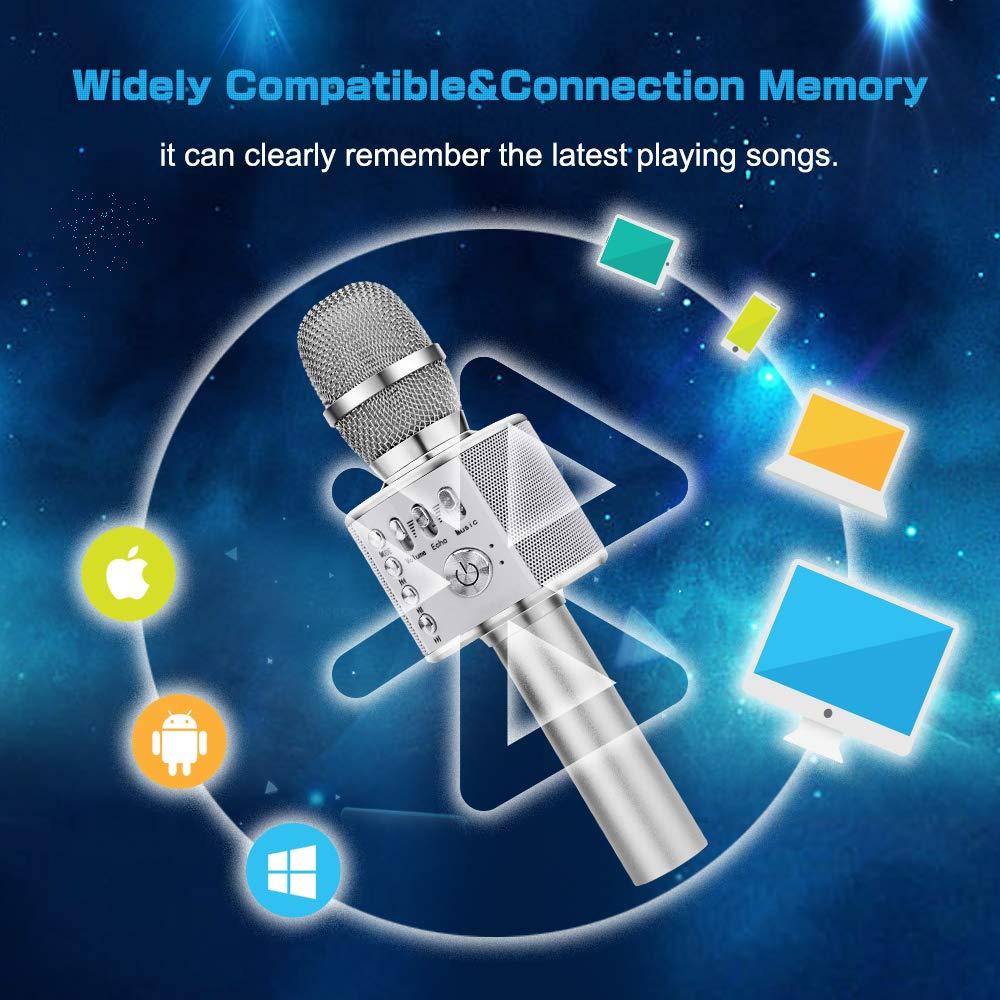 Compatible con Android//iOS Ankuka 4 en 1 Microfono Inal/ámbrico Karaoke Port/átil para Cantar y Grabaci/ón Micr/ófono Karaoke Bluetooth Dorado con Altavoces Incorporados PC