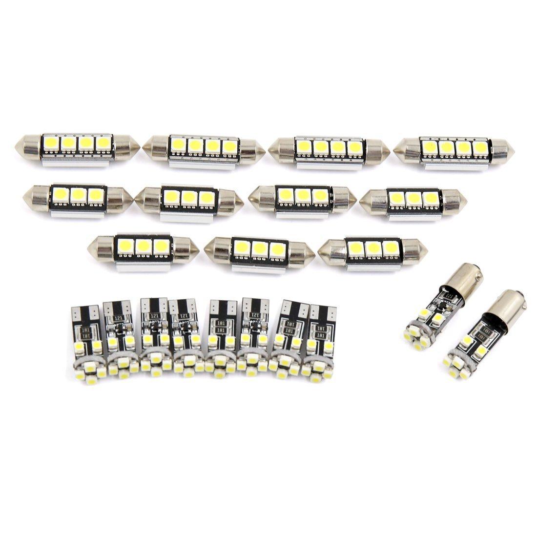 Zantec 21pcs White Festoon LED Light Bulbs LED Car Interior Lights Map Dome Reading Lights Bulbs Set for BMW E46 Sedan Coupe M3 1999-2005 Canbus