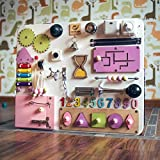 Shafa-18 European quality. Handmade Wooden Busy board, Clever Puzzles, Locks and Latches Activity Board
