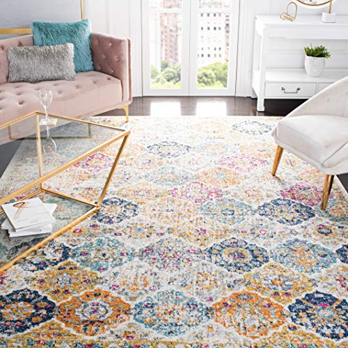 Safavieh Madison Collection MAD611B Boho Chic Floral Medallion Trellis Distressed Non-Shedding Stain Resistant Living Room Be