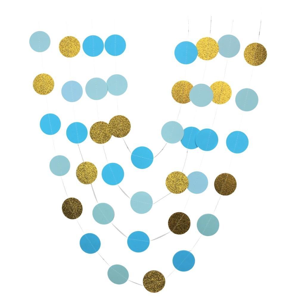 Amazon.com: mybbshower Azul Círculos purpurina, color dorado ...