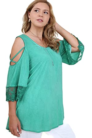 f17ac26f726 Umgee Bohemian Washed Cold Shoulder Lace Trim Tunic Top Plus Size ...