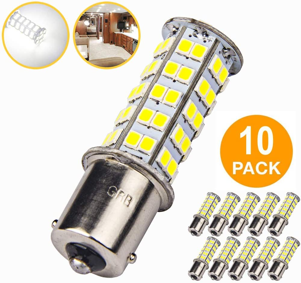 10 Pcs Extremely Super Bright 1156 1141 1003 BA15S 68-SMD LED Replacement Light Bulbs for RV Indoor Lights(10-Pack, Pure White (6000K-6500K Color Temputure)) 61X1IiWgPYL
