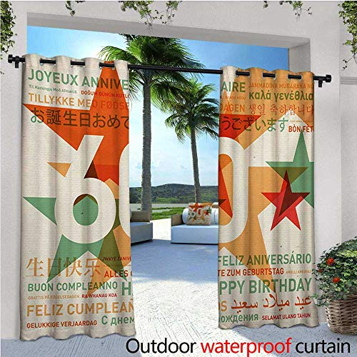58th Birthday Outdoor Privacy Curtain for Pergola World Cities Birthday Party Theme with Abstract Stars Print Thermal Insulated Water Repellent Drape for Balcony W120 x L108 Green Vermilion and WHI