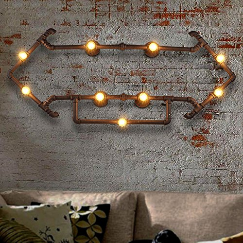 (Loft Industry Iron Nine Head Edison Punk Wall Lamp Wall Spotlights American Style Creative Personality Decoration Wall Lantern Wall Light Bar Barn Warehouse Living Room Wine Cellar Retro Water Pipe Wa )