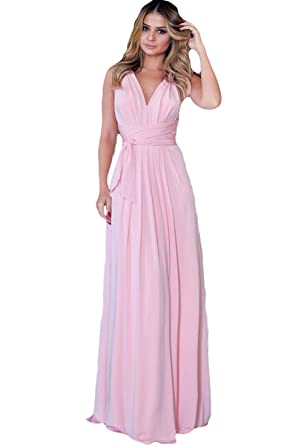 df1f6ebed047 Elleybuy Women's V Neck Ruched Chiffon Bridesmaid Dresses Long Prom Party  Gown US2