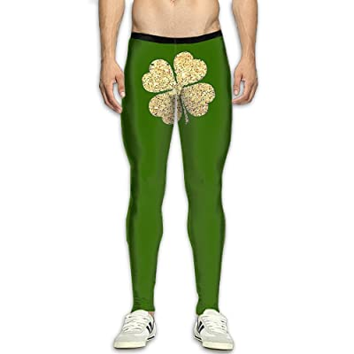 QWYHFHH Mens Pants Jogger Fitness Bodybuilding Compression Tights Green Clover Long Trousers