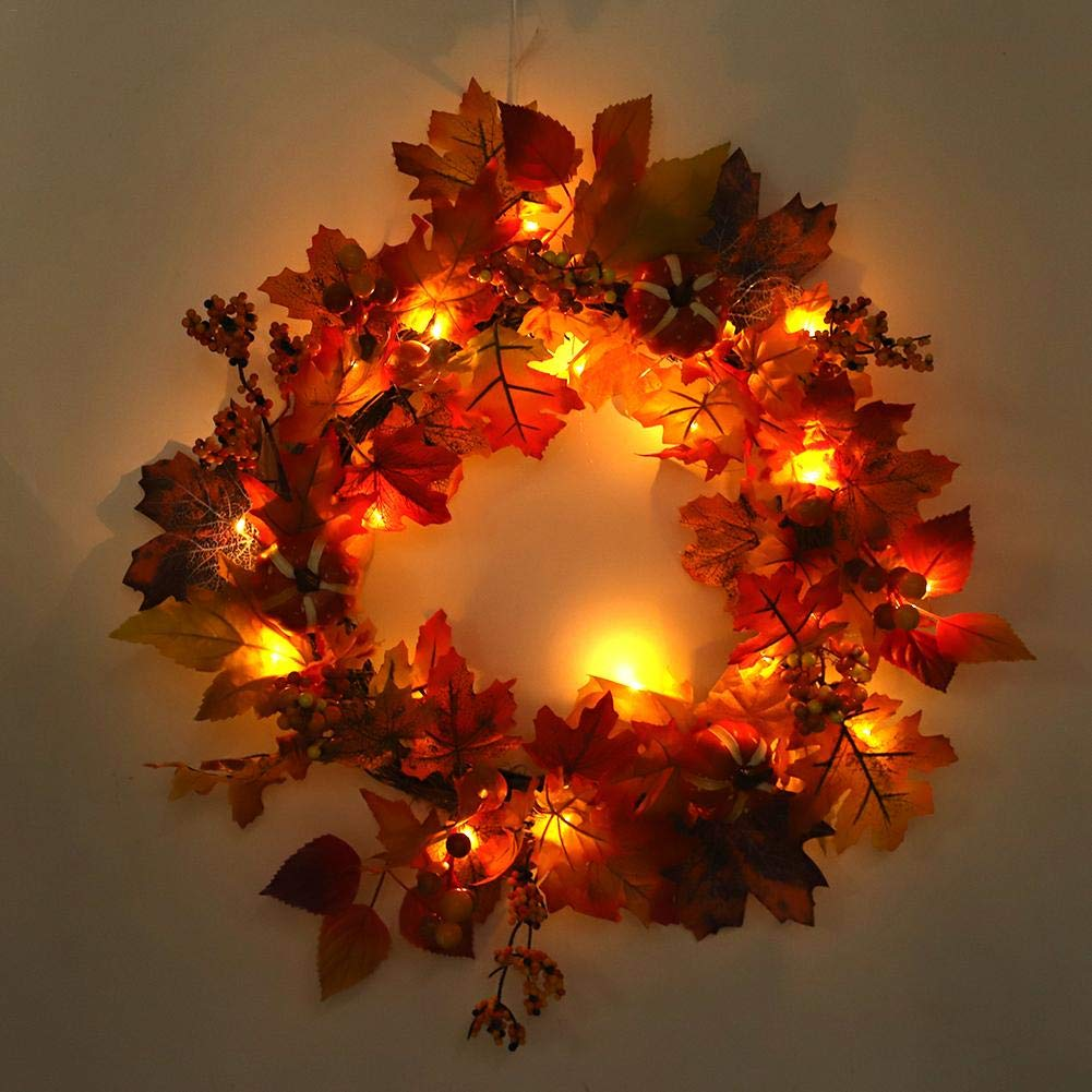 Blueyouth Christmas Wreath - Autumn Leaves Wreath Door Wreath for Outdoor Display, Home Hotel Shopping Mall Decoration Pendant Wreath 50cm