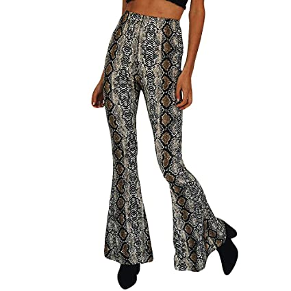 88f4088a4fa70 Amazon.com: BOLUOYI Womens Plus Capris Women Fashion Sexy Snake Print High  Waist Zippers Long Loose Flare Pants Multicolor XL: Toys & Games