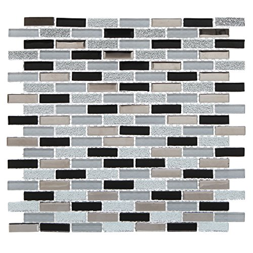 11x12 Subway Metallic Style Backsplash Tiles, Mesh-Backed Glass & Ceramic Mosaic Tile Set, Silver / Gray