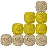 Set of 10 Pcs Yellow And Off-White with Metallic Gold Yarn Tatting Thread Double Color Cotton Crochet Skeins Lacey Craft Knitting Doilies