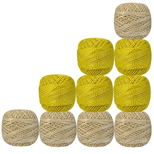 Set of 10 Pcs Yellow And Off-White with Metallic Gold Yarn Tatting Thread Double Color Cotton Crochet Skeins Lacey Craft Knitting Doilies by CraftyArt