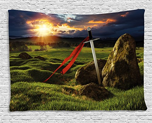 Ambesonne King Tapestry, Arthur Camelot Legend Myth in England Ireland Fields Invincible Myth Image, Wall Hanging for Bedroom Living Room Dorm, 80 W X 60 L Inches, Green Blue