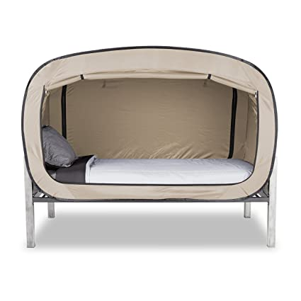 Amazon Com Privacy Pop Bed Tent Twin Xl Tan Toys Games