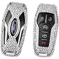 [M.JVisun] Car Key Fob Cover For Lincoln MKC MKX MKZ Remote Key Smart Engine Start Stop , Diamond Car Key Case Cover Skin Handmade , Aircraft Aluminum + Genuine Leather + Bling Crystal Gems - Silver