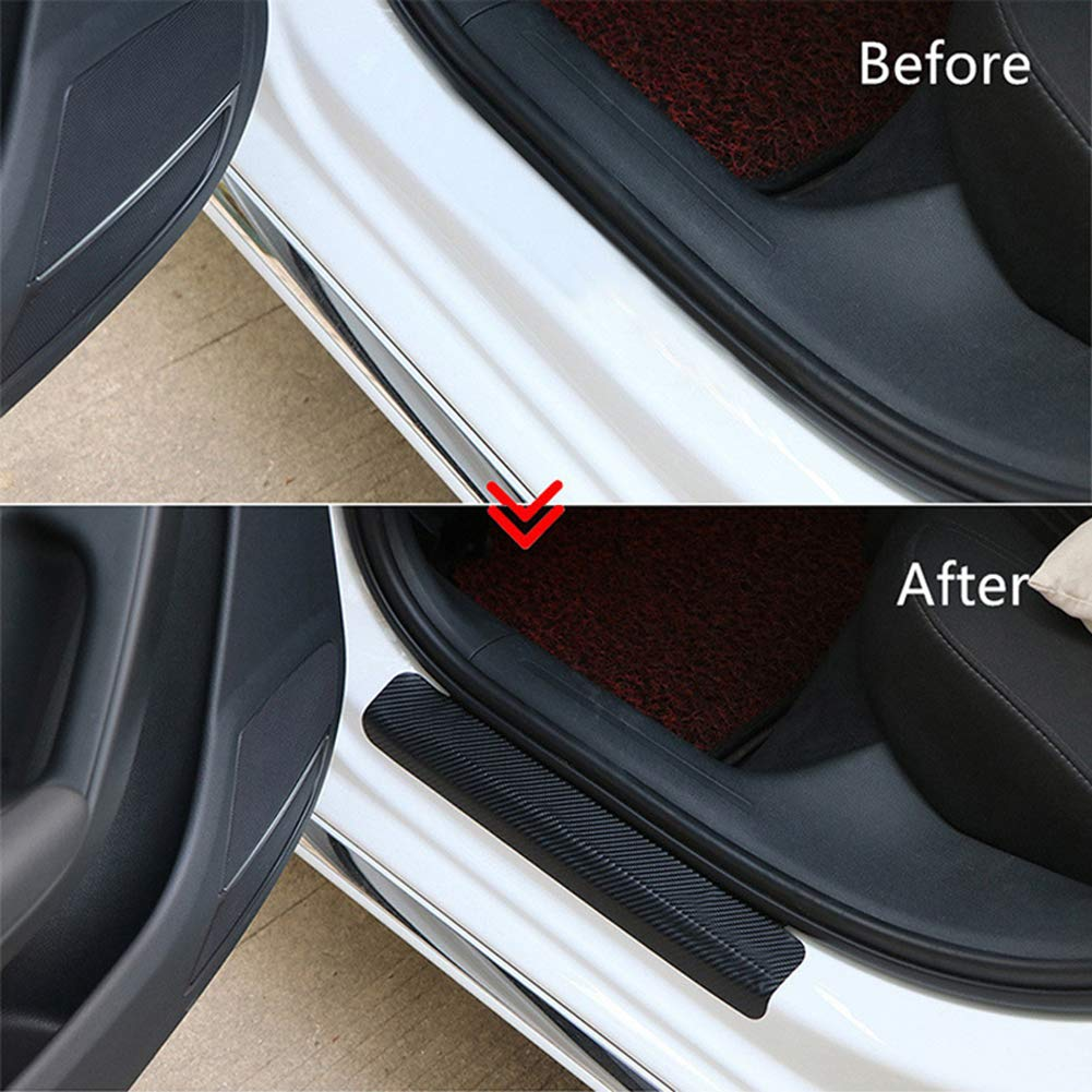 ZaCoo Car Door Sill Protector Guard Stickers 3D Carbon Fiber Welcome Pedals Protect Anti-Kick Scratch for Car Doors Black 4 Pack