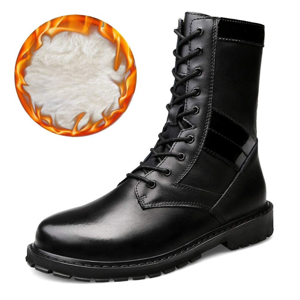 Apragaz Ankle Combat Stiefel Stiefel Stiefel für Herren - Lässige Outdoor-Mitte der Wade Faux Fleece-Chukka-Stiefel (Konventionell Optional) (Farbe   Warm schwarz, Größe   41 EU)  b03729