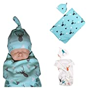 BANGELY Newborn Baby Boys Girls Deer Swaddle Blanket Warm Coming Home Cotton Bath Towel Size 0-12 Months,Blue