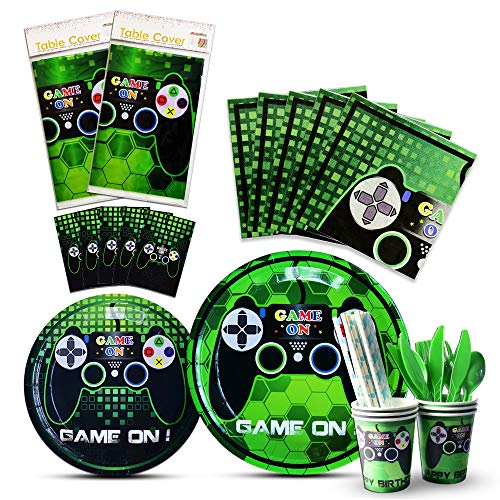 WERNNSAI Video Game Party Tableware Set - Game Theme Party Supplies for Boy Game Players Geeks, Includes Cutlery Bag Table Cover Plates Cups Napkins Straws Utensils Serves 16 Guests 146 PCS -