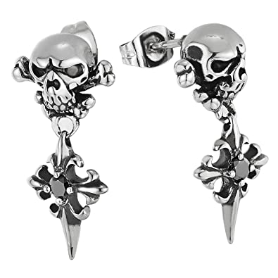 157bf7821 Vintage Steel Pirate Skull Stud Earrings with Dangling Spiked Cross and  Black CZ: Amazon.co.uk: Jewellery