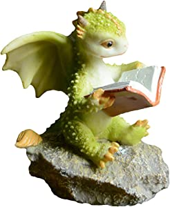 TEAYASON Mythical Green Baby Dragon Statue Collectible,Mini Dragon Figurine Rex Figure Reading,Miniature Garden Decor Cute Magic Dragon B 9X6X7.5Cm(3.5X2.4X3Inch),a