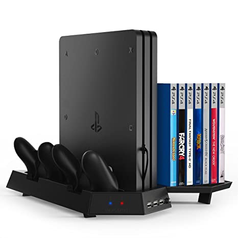 Kootek Vertical Stand For Ps4 Pro With Game Storage And Cooling Fan Dual Controller Charger Station For Sony Playstation 4 Pro Dualshock 4 Controller