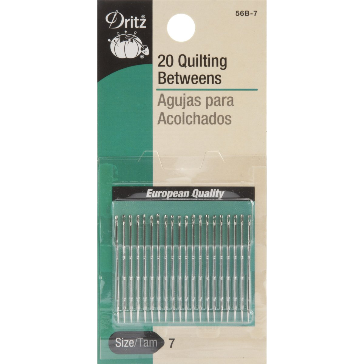 Dritz 20-Piece Quilting Between Hand Needles, Size 7 Prym Consumer USA 56B-7
