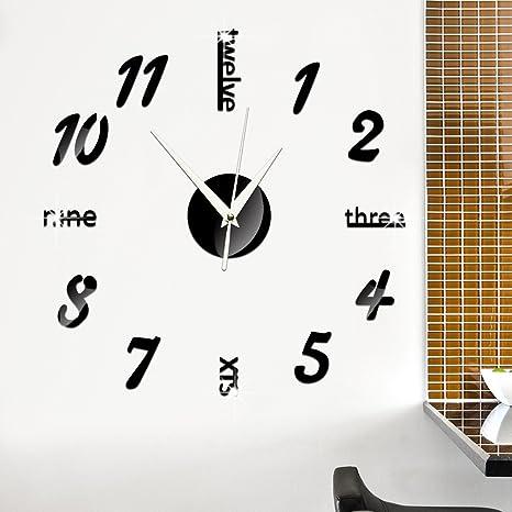 GOUZI El muro creativo Espejo Espejo acrílico reloj digital reloj de pared Reloj de pared removible