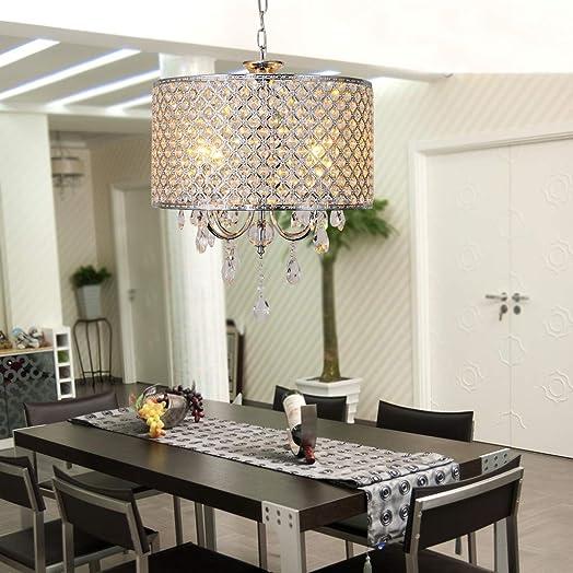Modern Crystal Chandelier 4-Light Ceiling Light Pendant Hanging Fixture Lights Decoration