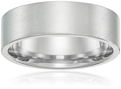 Mens 14k White Gold 6mm Comfort Fit Plain Wedding Band With Brushed Finish