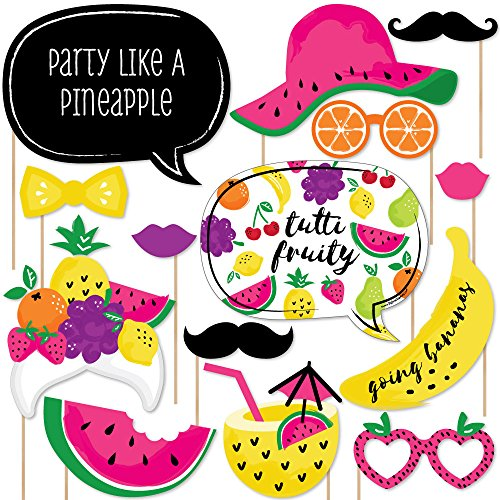 Big Dot of Happiness Tutti Fruity - Baby Shower or Birthday Party Frutti Summer Photo Booth Props Kit - 20 Count