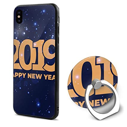 2019 happy new year galaxy background unique apple iphone x mobile phone shell ring bracket cover