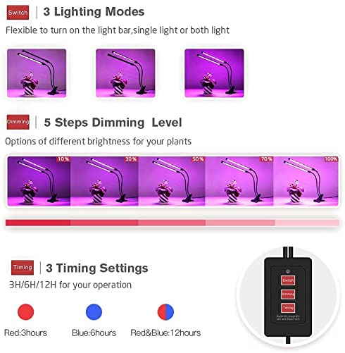 Indoor Plant Grow Lights , Timing Led Grow Light , 36 LED 5 Dimmable Levels Grow lamp with Red Blue Spectrum, Adjustable Gooseneck, 3 6 12H Timer, 3 Switch Modes