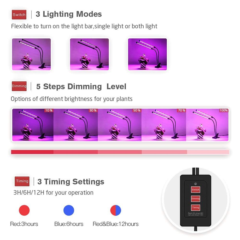 Indoor Plant Grow Lights, Timing Led Grow Light, 36 LED 5 Dimmable Levels Grow lamp with Red Blue Spectrum, Adjustable Gooseneck, 3 6 12H Timer, 3 Switch Modes