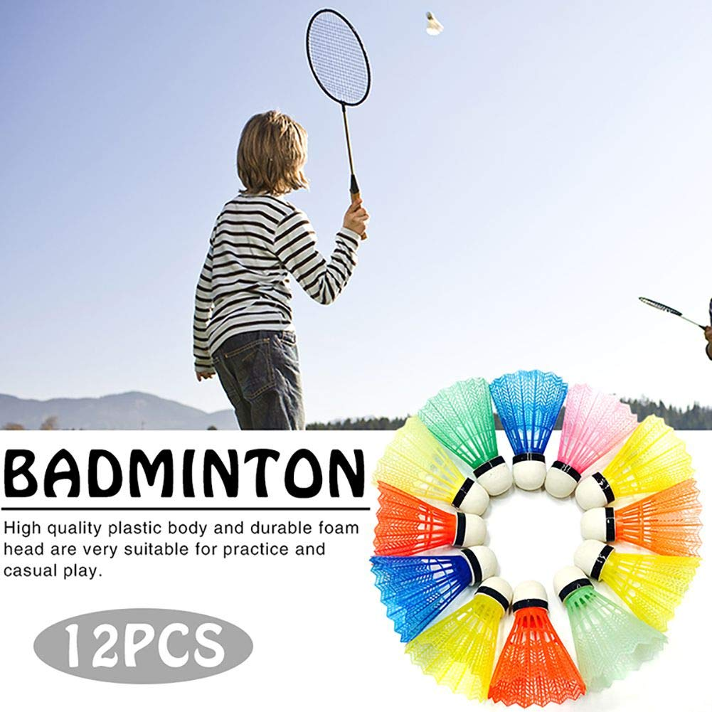12Pcs Badminton Balls Multi-Color Shuttlecock Portable Plastic Training Sports