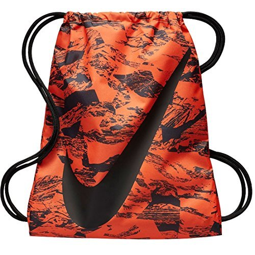 NIKE Young Athlete Drawstring Gymsack Backpack Sport Bookbag (Atomic Orange Swirl and Signature Swoosh Logo) by NIKE