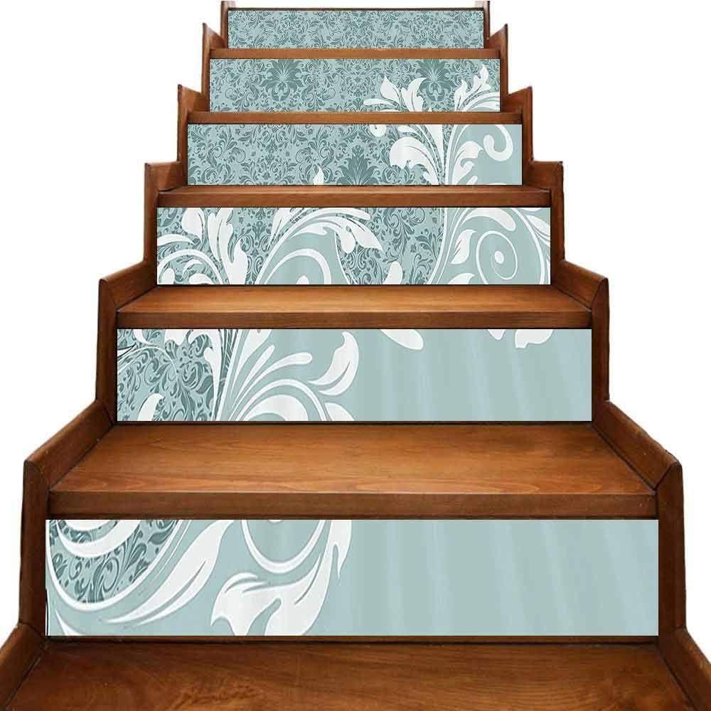 Calcomanías vintage para escaleras, marco antiguo con adornos y rosas, diseño retro nostálgico, decoración de paisaje, color coral oscuro: Amazon.es: Bricolaje y herramientas