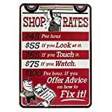 Shop Rates Red Embossed Metal Sign