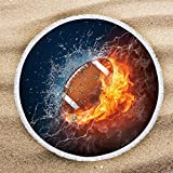 ARIGHTEX Football Beach Towels for Boys Fire and Ice Sports Themed Beach Mat Teenage Soccer Ball Beach Roundies Round Blanket with Tassels Football Gifts