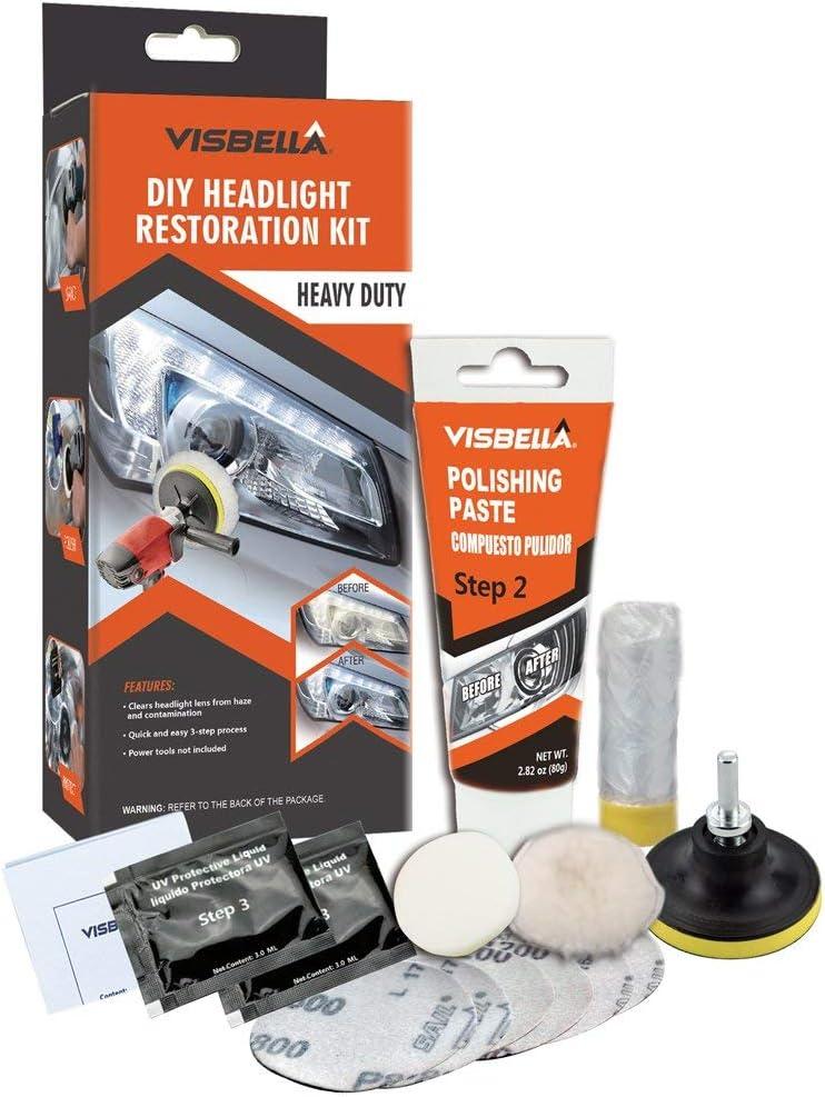 Visbella Kit de restauración de Faros Delanteros con Pulido, para Restaurar Faros turbios, amarillentos o Desgastados (Automatic-h)
