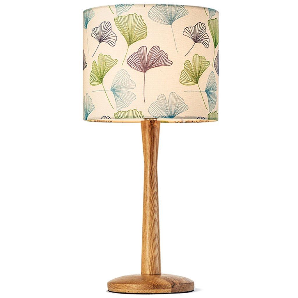 Bestickte Tuch Lampe Abdeckung Schlafzimmer einfache warme Nachttischlampe Holzlampe (Farbe   Ginkgo leaf shade)