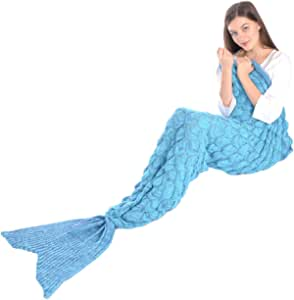 """Girls Knitted Crochet Wool Mermaid Tail Blanket with Fish Scale, Soft Warm Living Room Sofa Quilt Sleeping Bag All Seasons in 4 Colors 80.7""""x 35.4"""" (Blue)"""