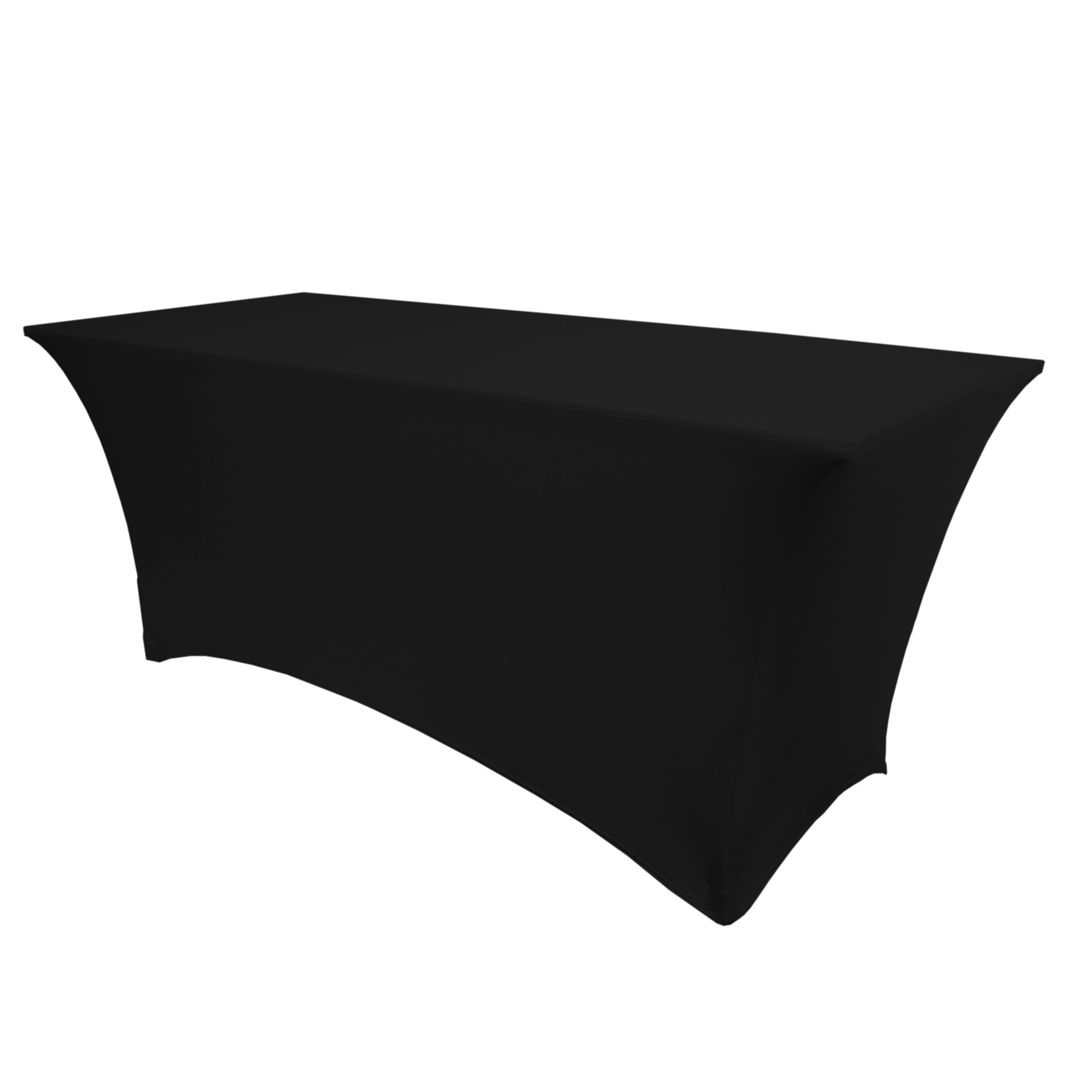 Ultimate Textile (2 Pack) 8 ft. Fitted Spandex Table Cover - for 30 x 96-Inch Banquet and Folding Rectangular Tables, Black