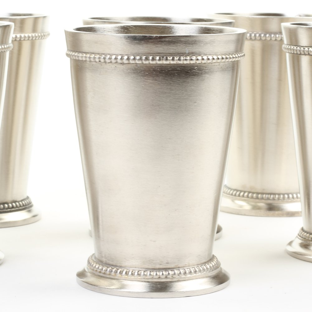 Koyal Wholesale Set of 6 Mint Julep Cups, For Classic Mint Julep Recipe, 12 oz Cup with Fancy Beaded Edge Tableware (Silver)